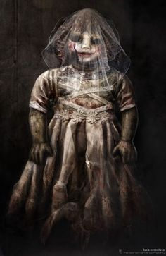 """These are some of the Annabelle Horror Dolls concept I did for the movie """"the Conjuring"""" directed by James Wan. This concept is realized using just Photoshop. Horror Movie Characters, Best Horror Movies, Real Horror, Creepy Clown, Creepy Dolls, Annabelle Horror, Scream, The Conjuring Annabelle, The Conjuring"""