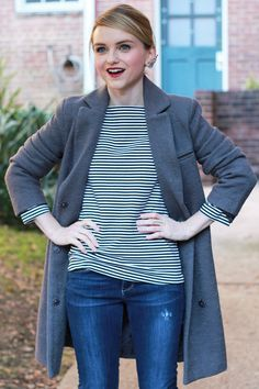 Poor Little It Girl - Gray Oversized Textured Coat, Black and White Striped Tee and Destructed Skinny Jeans
