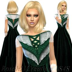 Velvet and lace old dress at Sims Dentelle via Sims 4 Updates