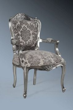 The Grand Louis Chair - Antique Silver & Grey Damask Velvet from www.chateau.co.uk