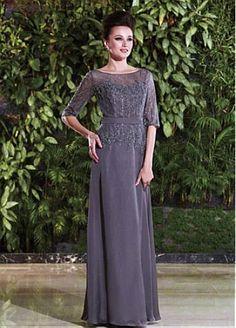 Stunning Chiffon A-line Bateau Neckline Full Length Mother of the Bride Dress