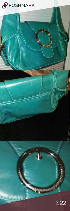 GIANNI BINI TURQUOISE PURSE NWOT, SEAL COVER ON SILVER NAME PLATE, LEATHER WITH LARGE SILVER BUCKLE, SNAP CLOSURE INSIDE, YELLOW INTERIOR, MINI SHOULDER BAG! Turquoise color Gianni Bini Bags Shoulder Bags