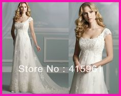 2014 Maternity Cap Sleeve Beaded Lace Empire Bridal Wedding Dresses For Pregnant Women W2451