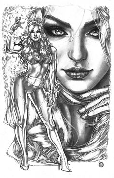 Original Comic Art titled Jean Grey Phoenix X-Men tonal pencil illo - Adriana Melo, located in Chiaroscuro's Sold Comic Art Gallery Jean Grey Phoenix, Dark Phoenix, Phoenix Force, Phoenix Art, Marvel Women, Marvel Girls, X Men, Marvel Universe, Gi Joe