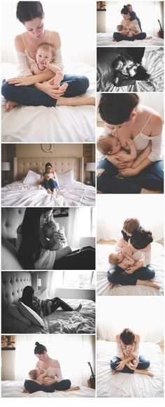 Mama and baby nursing photos on bed | Portland, OR Family Photographer Brit Chandler