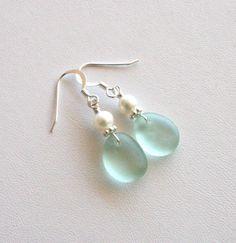 Sea Glass Earrings Sea Foam Green Freshwater Pearls Sterling Silver