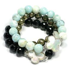 larimar, onyx and pyrite bracelets