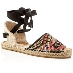 Soludos Classic Raffia Lace Up Espadrille Flats (€84) ❤ liked on Polyvore featuring shoes, flats, black multi, flat pumps, soludos espadrilles, black laced shoes, lace up espadrilles and laced flats