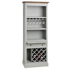 Lyon Grey Tall Drinks Cabinet in Cabinets & Cupboards Wine Rack Cabinet, Drinks Cabinet, Tall Cabinet Storage, Tall Bar Cabinet, Wine Racks, Wine Cabinets, Wooden Cabinets, Cupboards, Alcohol Cabinet
