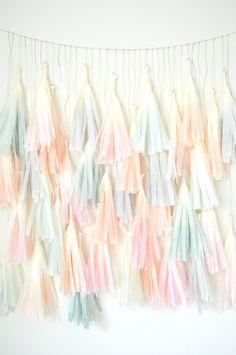 Watercolor Dip Dye Tissue Tassel Backdrop by One Stylish Party