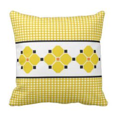 Gingham and Flowers Indoor/Outdoor Pillow in Yello