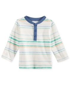 First Impressions Striped Henley T-Shirt, Baby Boys (0-24 months), Only at Macy's - White 3-6 months
