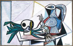 Pablo Picasso Still Life with Skull, Leeks and Pitcher 14 March 1945 Pablo Picasso, Kunst Picasso, Picasso Art, Picasso Paintings, Original Paintings, Oil Paintings, Dylan Thomas, Francis Bacon, Paul Gauguin