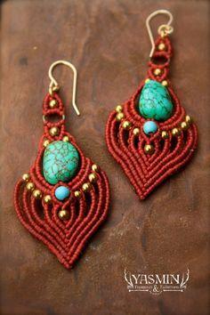 red heart micro macrame tribal boho earrings by yasminsjewelry