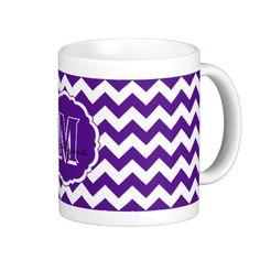 SC Monogram Chevron, Purple-White-Coffee Mug #zazzle #mugs #schoolcolors #monogram #chevron #purple #white