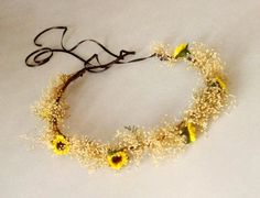 Sunflower Bridal hair accessory Woodland wedding headpiece Babys breath flower crown mini sunflowers Woodland Summer Hair Wreath rustic fall