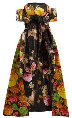36de1f506202 Richard Quinn - Floral Print Off The Shoulder Dress - Womens - Multi Long  Ties,