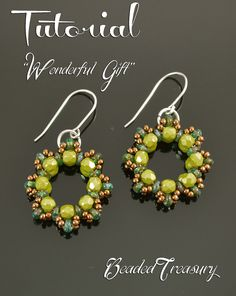 """""""Wonderful Gift"""" beaded hoop earrings tutorial by BeadedTreasury. Bead pattern with superduo beads, fire polished beads and seed beads."""