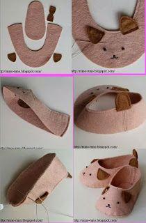 Felt Baby Slippers: Plus Doll Shoe Patterns, Baby Shoes Pattern, Sewing Patterns, Sewing For Kids, Baby Sewing, Baby Crafts, Felt Crafts, Felt Baby Shoes, Felt Booties
