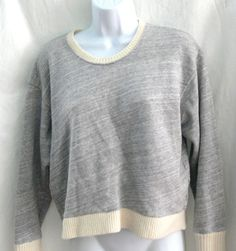 J. Crew Sweater-tipped Cropped Top Cotton Wool Cuffs Size M #JCREW #Sweatersweatshirt #Casual