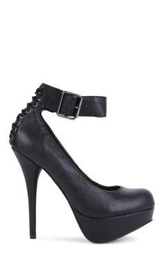 Black Platform Pumps with Buckled Ankle Strap and Lace Up Back $21.60