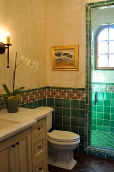 Bathroom Stall In Spanish mexican style bathrooms | mexican style powder room | deltec