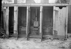 Outhouses in a row, New York City Tenement House Department, 1902-1914