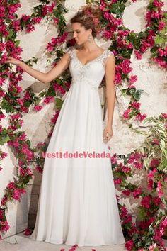 2015 Ropa de boda Cuello V Sin mangas Cola de corte Cremallera de detrás Bordado US$ 189.99 VLP2FPFP8K - VestidodeVelada.com