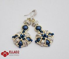 Make your own beautiful Tara Earrings using Czech Crescent beads and 2-hole Cabochons. Easy and quick beading project.Beading Tutorial for Tara Earrings...