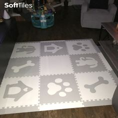A fun SoftTiles Puppy Dog theme play mat looks great in any room! Create soft play areas for your kids that looks great and protects your kids! #playroom #playroomdecor #kidsroom #nursery #nurserydecor