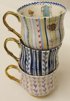 Ceramic cups by katie almond- interior detail
