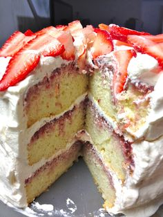 Strawberry Not-So-Shortcake...vanilla layers, strawberry compote and whipped cream filling...its a dream.