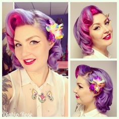 Vintage hair and make up artists for The Vintage Salon and Le Keux Cosmetics. Pink Ombre Hair, Pastel Hair, Pin Up Hair, My Hair, Retro Hairstyles, Wedding Hairstyles, Hair Junkie, Birthday Hair, New Hair Colors