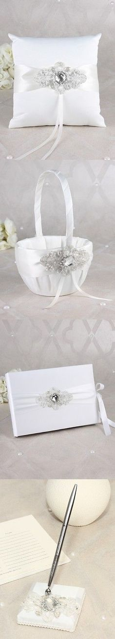 Ring Pillows and Flower Baskets 177762: White Or Black Rhinestone Wedding Guest Book Ring Pillow Basket Accessory Set -> BUY IT NOW ONLY: $182.95 on eBay!