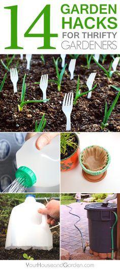 14 Garden Hacks for Thrifty Gardeners #Gardening #GardeningTips