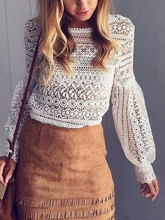 Simplee White lace blouse shirt women top Casual hollow out lantern sleeve pink blusas Autumn elegant geometry cool blouse 2016 Look Fashion, Autumn Fashion, Fashion Outfits, Fashion Trends, Casual Tops For Women, Blouses For Women, Latest Fashion For Women, Womens Fashion, White Lace Blouse