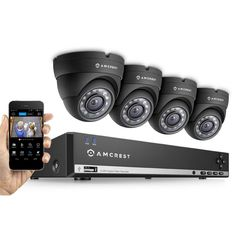 Amcrest 960H 4-Channel Video Security Kit - 4 x 800TVL Dome Outdoor Cameras, 500GB HD (Upgradable)