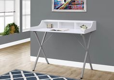 Monarch Specialties Computer Desk - Writing Desk with Hutch - Home Home & Office Desk - (White - Silver Metal Legs) Metal Computer Desk, Metal Desks, Home Office Desks, Home Office Furniture, Loft Office, Furniture Ideas, White Table Top, Best Desk, White Desks