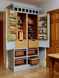 Do it yourself Independent kitchen DIY pantry kitchen furniture – # … – Own Kitchen Pantry Kitchen Larder Cupboard, Kitchen Pantry Design, Kitchen Cabinet Storage, Pantry Storage, Kitchen Pantries, Kitchen Ideas, Storage Racks, Shaker Kitchen, Kitchen Images