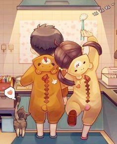 This illustration of a bro/sis in teddy bear costumes is very sweet. #siblings