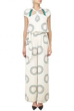 Printed Fringes and Silver Studs Jumpsuit By Babita Malkani