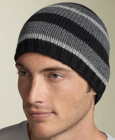Men's knit hat- Good stripe pattern