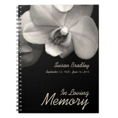 Orchid - Memorial or Funeral Guest Book Notebook
