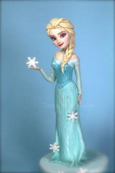 Frozen - Elsa- cake - cake by ivana guddo - CakesDecor Elsa Frozen, Bolo Frozen, Torte Frozen, Disney Frozen Cake, Frozen Theme Cake, Disney Cakes, Disney Poster, Elsa Cakes, Fantasy Cake
