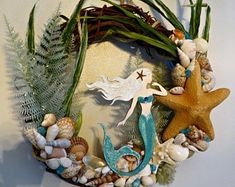 Mermaid wreath | Etsy Gifts For Bridal Shower Games, Mermaid Ornament, Seashell Wreath, Mermaid Wall Art, Vine Wreath, Beach Gifts, Beach Wall Decor, Shell Crafts, Large Wall Art