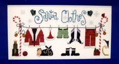 Santa Clothes - Cross Stitch Pattern  by Raise The Roof Designs  $6.29   Santa's clothes are drying on a clothesline held up by two candy canes. Santa's hat, pants, and funky green boxers are on display for all to see! Model stitched on 32 Ct. Opalescent Belfast Linen using Gentle Art Sampler Threads, Weeks Dye Works, and Crescent Colours (DMC equivalents provided). Stitch Count: 210W x 101H. Button pack from Just Another Button Company is sold separately.