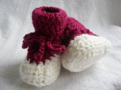 Baby Booties Dark Rose and White  532SLA by Pepperbelle on Etsy, $12.00