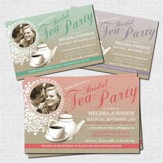 TEA PARTY INVITATIONS Bridal Shower, Birthday or Baby Shower (printable)