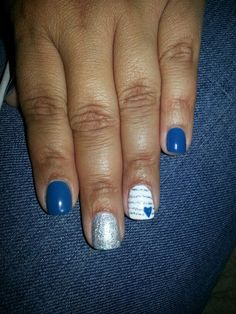 CND Shellac | Nail Art Blue Rapture with Silver Chrome/Heart design.