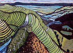 """Eggardon Drop"" relief print by Liz Somerville. www.lizsomerville.co.uk  Tags: Linocut, Cut, Print, Linoleum, Lino, Carving, Block, Woodcut, Helen Elstone, Hills, Fields."